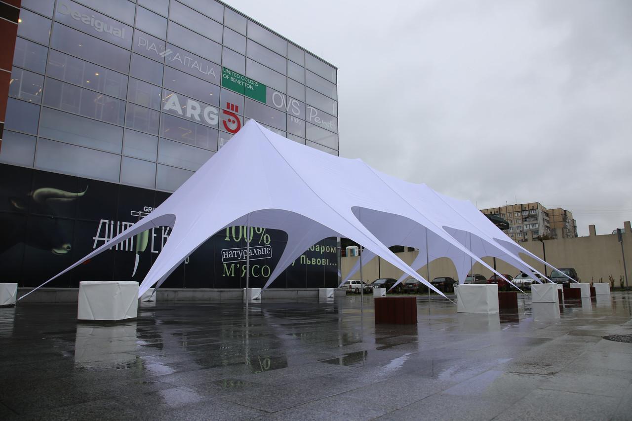Аренда тента Звезда 4 - 10х24 м, Палатка белая на 50-100 человек