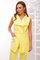 Стильный лимонный жилет с отложным воротником английского стиля с тканевым поясом