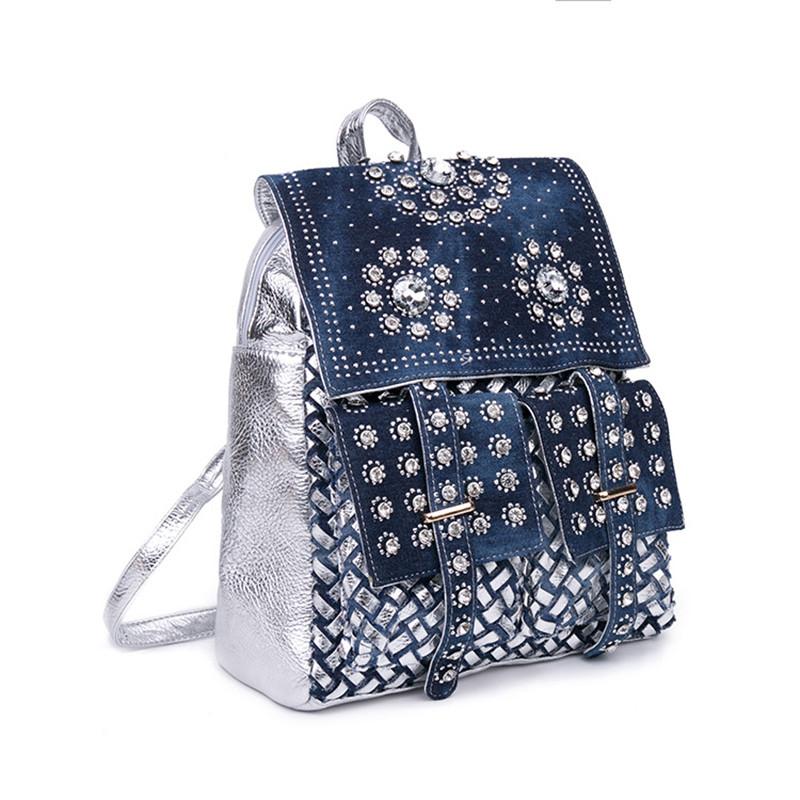 5cf589de45bf Рюкзак городской джинсовый женский со стразами (синий)  продажа ...