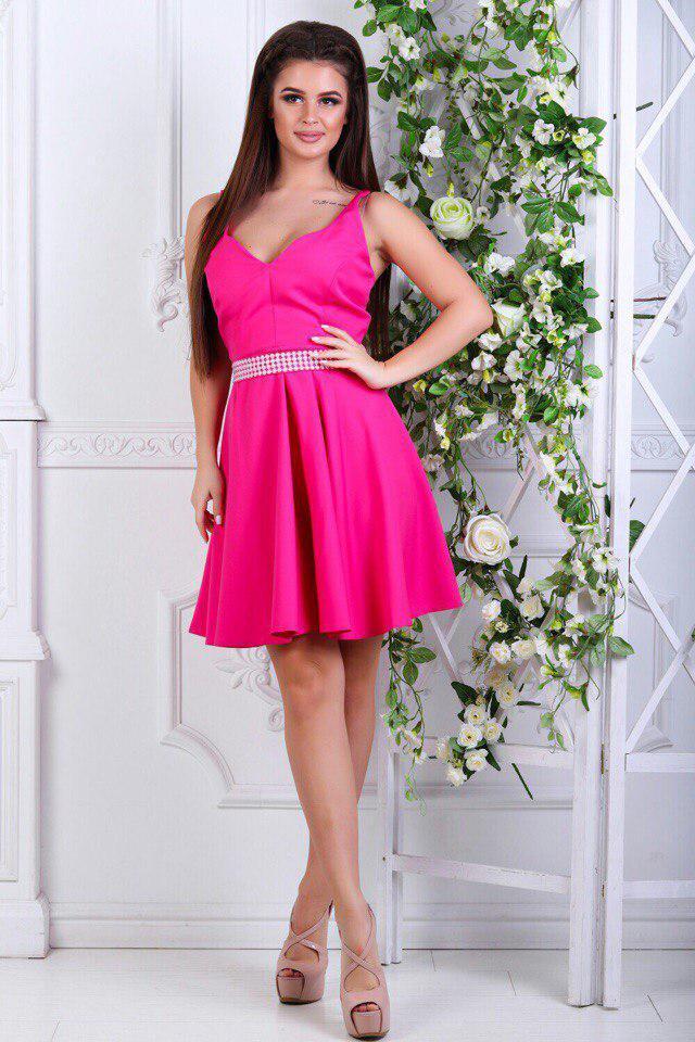 Платье с расклешенной юбкой, на талии стразы / 5 цветов арт 5151-98