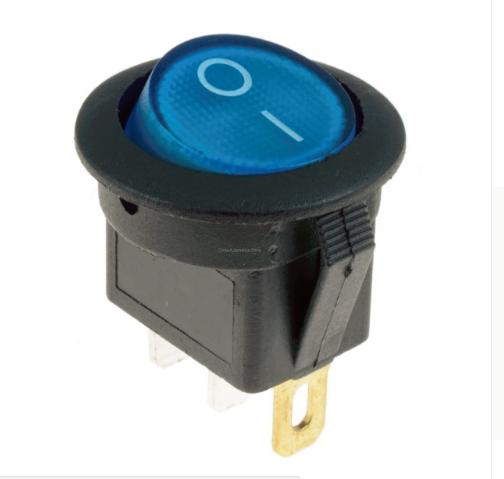 Переключатель клавишный КП-15 2 контакта, 2 положения с фиксацией без подсветки 220В. Синий