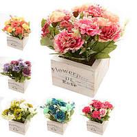 """Композиція зі штучних квітів """"Квіти в коробці"""" R22331 пластик / поліестер, 15 * 15 * 17 см, Штучні квіти, Декор, Квіти, Штучні квіти"""