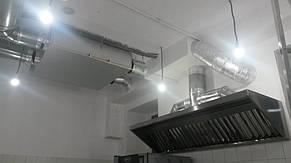 Приточно-вытяжная установка потолочного типа Vents ВУТ 1000 с противоточным канальным рекуператором и предварительным подогревом приточного воздуха. ПВУ обеспечивает воздухом зал кафе, подсобное помещение, и работников кухни. Вытяжной зонт с жироуло