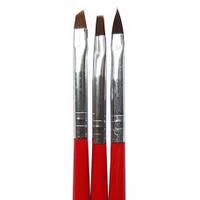 Набор кистей гель+френч+акрил (черно-красная ручка) 3шт MART