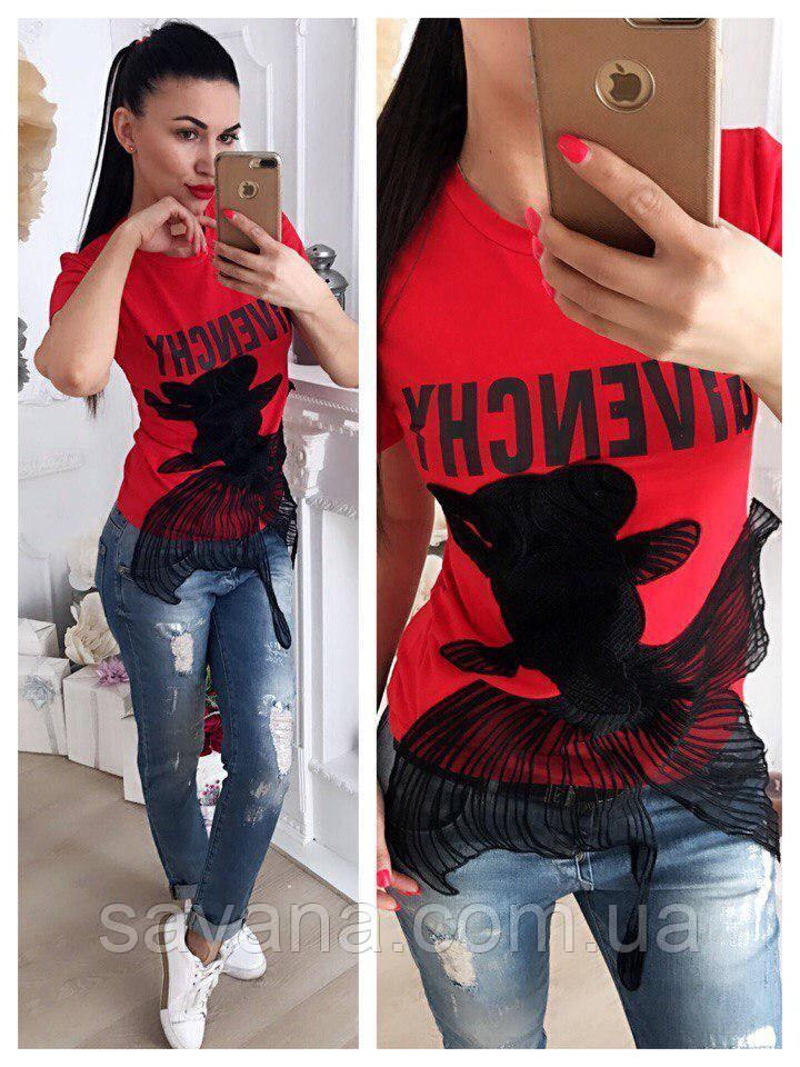 Женская футболка с аппликацией, в расцветках. АР-49-0518
