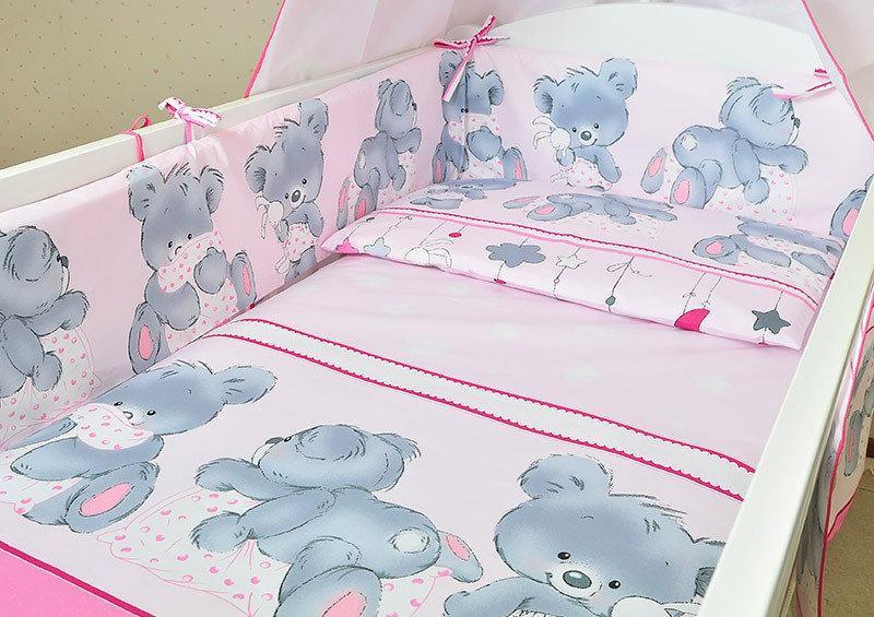 """Набор постельного белья в детскую кроватку из 6 предметов """"Евро"""" Мишка с подушкой  розовый"""
