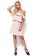 Летнее платье с воланом на плечах,персик, фото 1