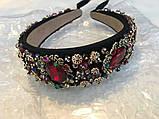 Ободок-диадема (обруч) в стиле Dolce&Gabbana_с красными камнями, фото 3