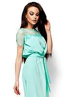 Летнее платье с гипюром,мята, фото 1