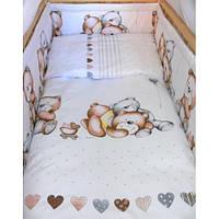 Защита бампер в детскую кроватку  из двух частей Мишка Оливець, фото 1