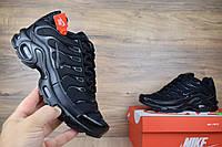 Мужские кроссовки Nike TN Plus черные полностью ТОП реплика Качество ААА+, фото 1