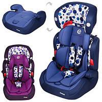 Автокресло детское, 2в1, группа 1-2-3 (9-36кг), 5-точечный ремень безопасности, регулируется подголовник, 2 цвета (синий, фиолет