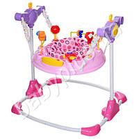 Прыгунок мягкое кресло - поворот на 360 градусов, регулируется высота, музыка, звук, подвижные детали, MP3, розов