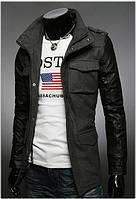 """Стильна куртка - тренч """"Hangout"""" кашеміру, рукава з кожзам Антрацит, Розмір XL"""