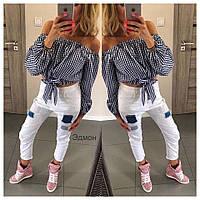Женская модная блузка-топ с открытыми плечами
