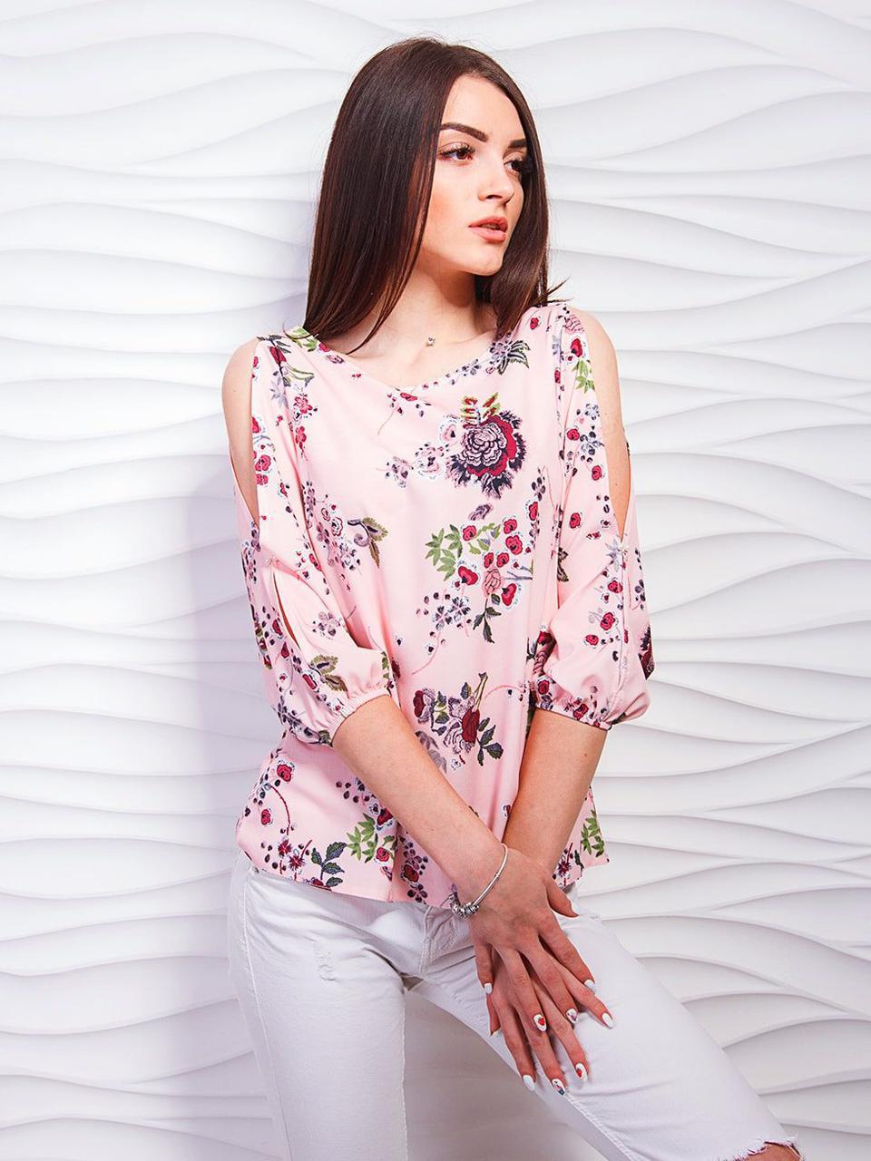 fcd59252ef8 Блуза из принтованной ткани с элегантными разрезами на рукавах ...