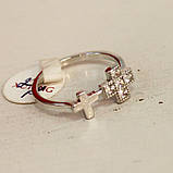 Кольцо с крестиком, цирконий, фото 2