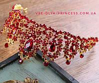 Диадема, корона,  тиара под  золото с красными камнями,  высота 6,5 см., фото 1