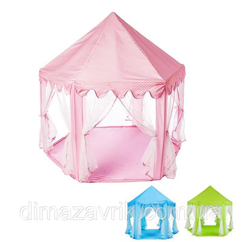Палатка M 3759домик, 140-135-135 см, на колышках,  стенки - сетка на завязках, 3 цвета, в сумке, 45-25-7 см