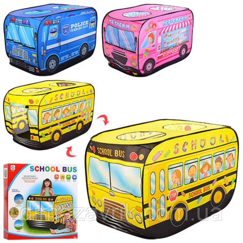 Палатка M 3716 автобус, 112-72-72 см, 1 вход на липучке,  3 окна, 3 вида (1 в - полиция), в коробке 37,5-37,5-