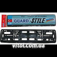 3ad2eda73453 Автомобильная рамка для номера пластик GUARD Black 2005, рамка номерного  знака,