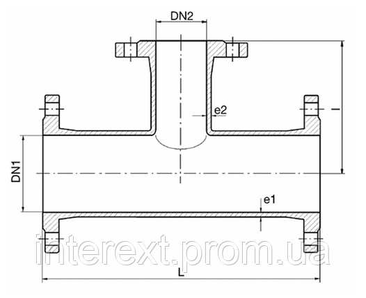 Тройник чугунный фланцевый Ду250х80, фото 2