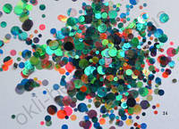 Конфетти, камифубуки #24 микс прозрачные для дизайна ногтей, голографические