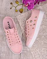 Женские кеды розового цвета с заклепками