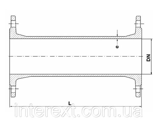 Патрубок чугунный фланцевый Ду150 L=100 мм, фото 2