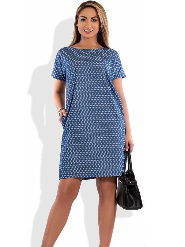 Женское платье из узорно перфорированного джинса размеры от XL ПБ-462