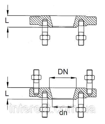 Фланець сталевий перехідною Ду400х300, фото 2