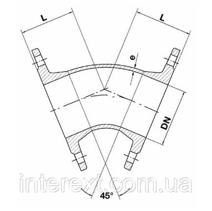 Колено чугунное фланцевое 45° Ду100, фото 2