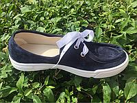 Мокасины женские на шнурках синие Литма