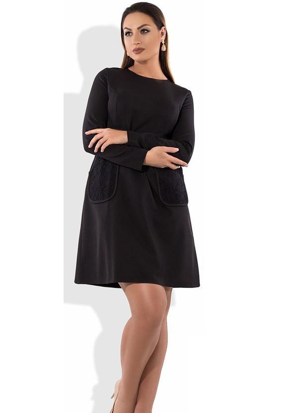Черное женское платье мини размеры от XL ПБ-470