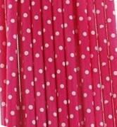 Трубочка для напитков картонная ярко-розовая Фуксия  в горошек