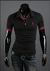 Мужская футболка с воротником M-XXL (черная) код 56