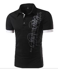 Черная футболка с графическим принтом M-  код 54