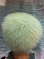Меховая шапка из песца молочного  цвета на вязанной  основе