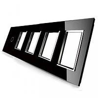 Лицевая панель для сенсорного выключателя Livolo 1 канал и 4х розеток, цвет черный (VL-C7-C1/SR/SR/SR/SR-12)