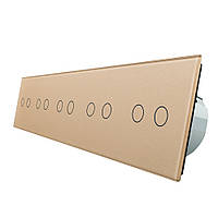 Сенсорный выключатель Livolo на 10 каналов, цвет золото, стекло (VL-C710-13)