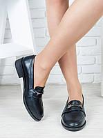 Туфли лоферы черная кожа 6363-28