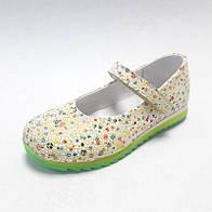Туфли детские для девочки жёлтые с цветным принтом из натуральной кожи