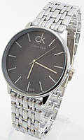 Мужские классические наручные часы (черный циферблат, серебристый ремешок), фото 1