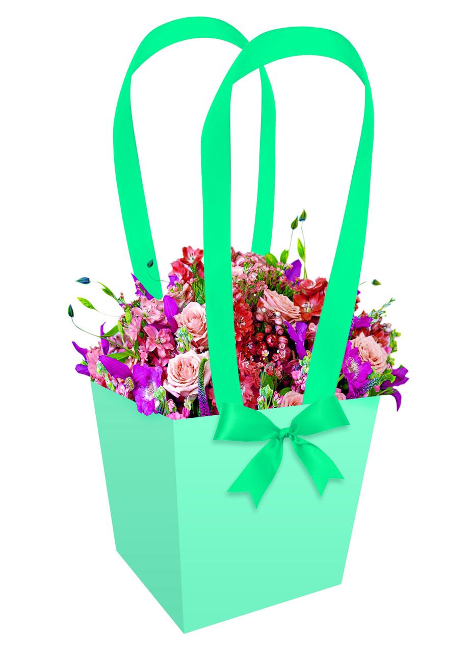 Паперова сумка-трапеція для букетів і горшкових квітів зелена