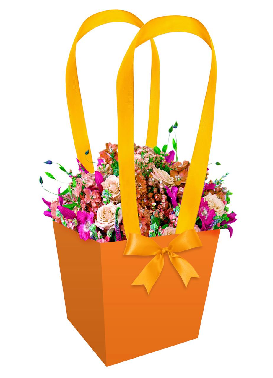 Бумажная сумка-трапеция для букетов и горшечных цветов  оранжевая