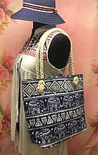 Пляжная женская сумка с интересным принтом со слонами
