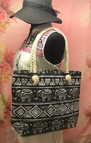 Пляжная женская сумка с интересным принтом со слонами, фото 2