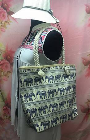 Пляжная женская сумка с интересным принтом со слонами, фото 3