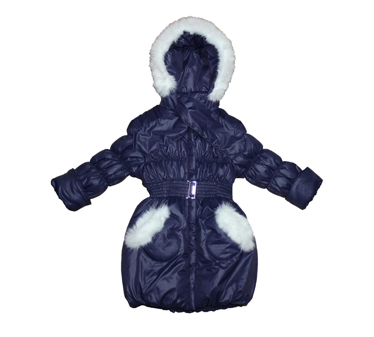 Пальто детское  на меху для девочки. Рукавичка