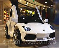 Детский электромобиль КХ812 Lamborghini, КОЖА, РЕЗИНА, 4 АМОРТИЗАТОРА, белый дитячий електромобіль